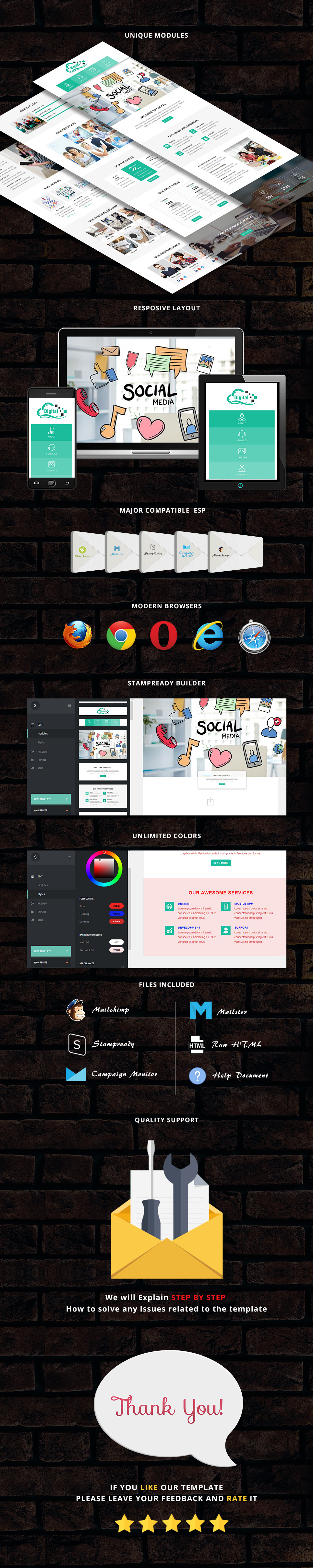 Digital - Responsive Email Template + Stampready Builder
