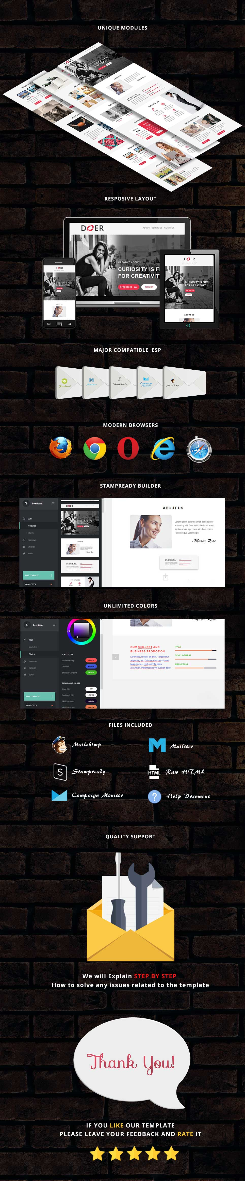 Doer - Responsive Email Template + Stampready Builder