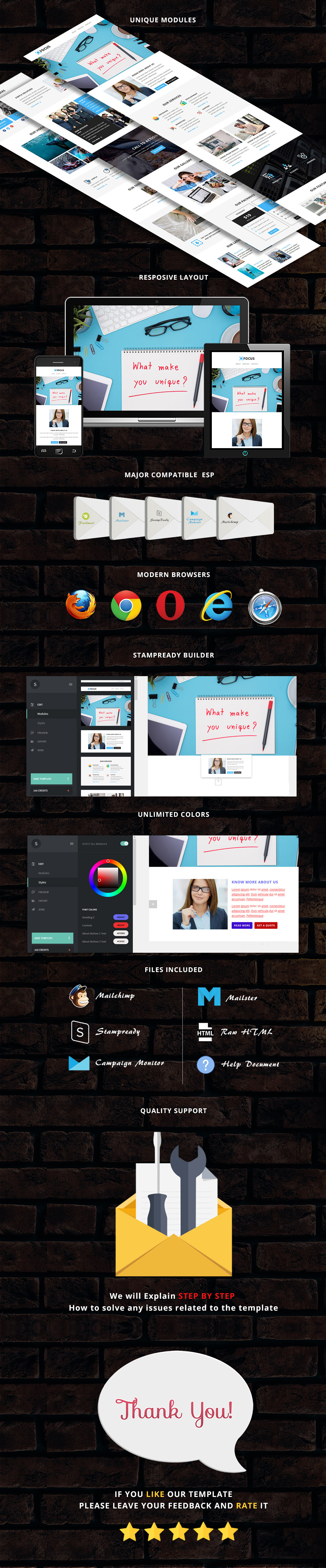 focus - Responsive Email Template + Stampready Builder