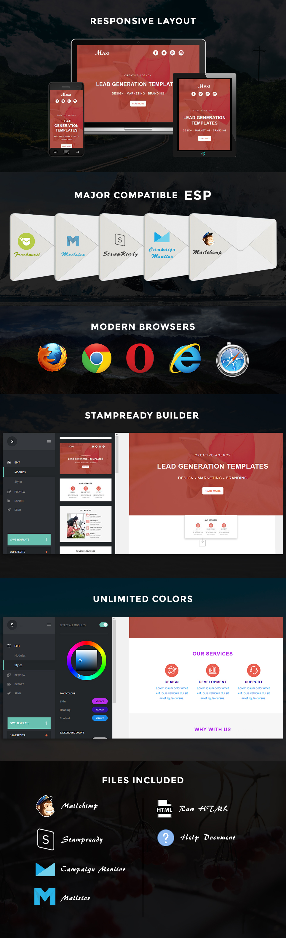 Maxi - Responsive Email Template + Stampready Builder