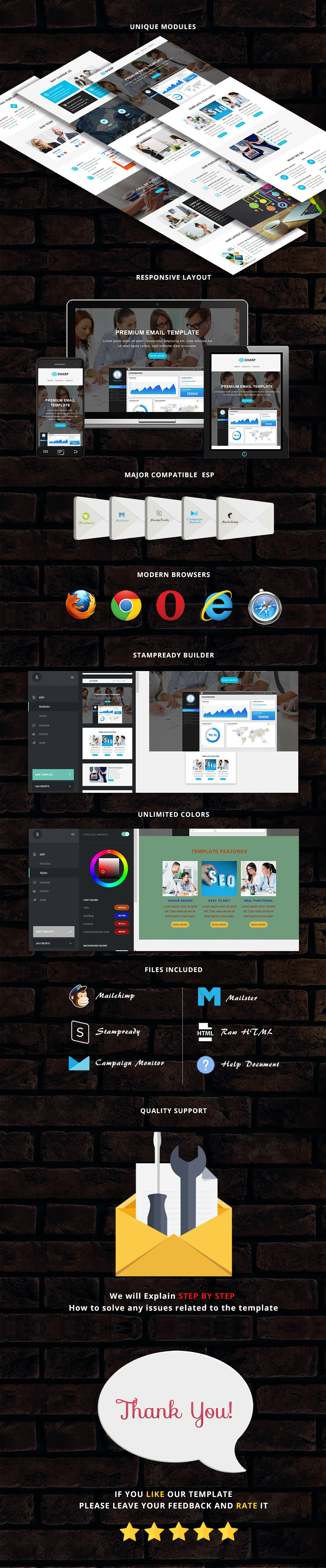 Sharp - Responsive Email Template + Stampready Builder