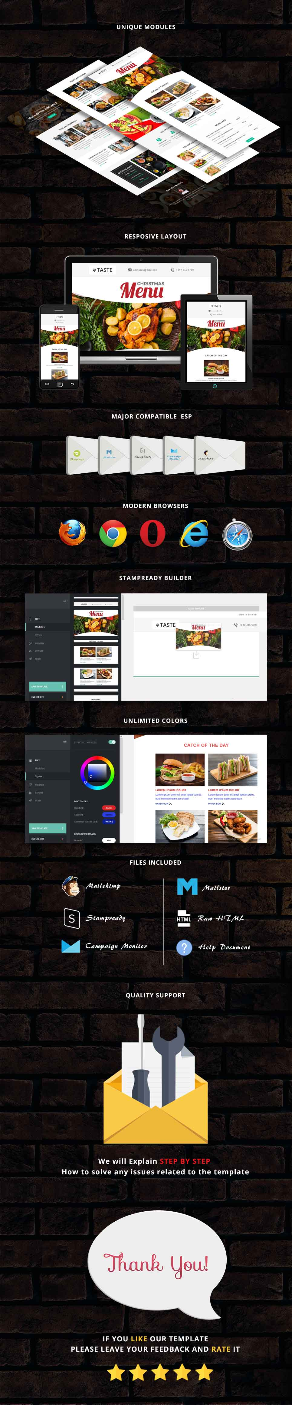 Taste - Restaurant Responsive Email Template + Stampready Builder